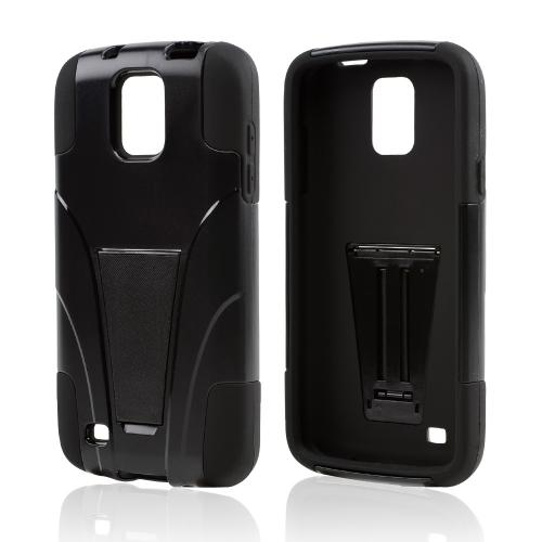 Black Hard Shell w/ Kickstand on Black Silicone Skin Case for Samsung Galaxy S4 Active