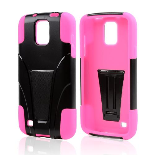 Black Hard Shell w/ Kickstand on Hot Pink Silicone Skin Case for Samsung Galaxy S4 Active