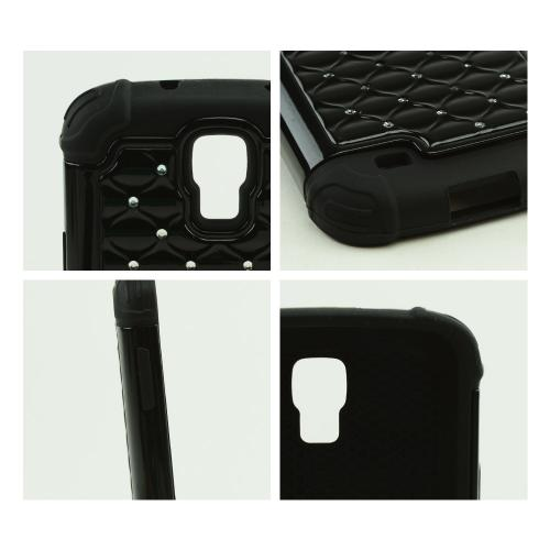 Black Hard Cover w/ Bling Over Black Silicone Skin Case for Samsung Galaxy S4 Active