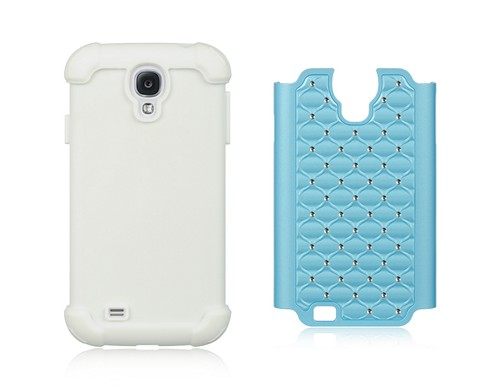Baby Blue Hard Cover w/ Bling Over White Silicone for Samsung Galaxy S4