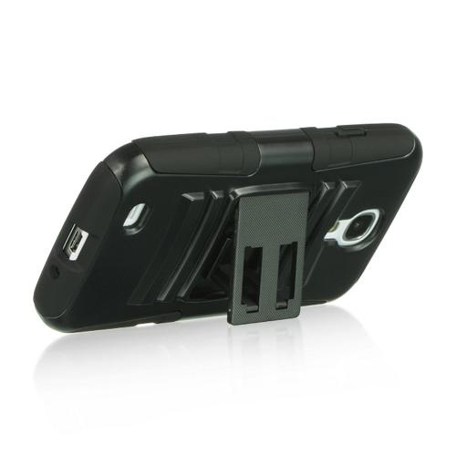 Black Hard Shell w/ Kickstand Over Black Silicone for Samsung Galaxy S4