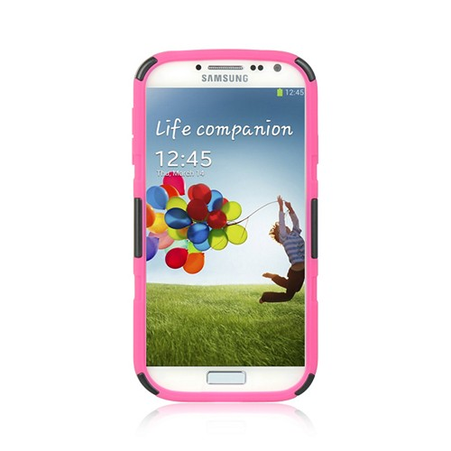 Black Hard Shell w/ Kickstand Over Hot Pink Silicone for Samsung Galaxy S4