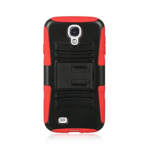Black Hard Shell w/ Kickstand Over Red Silicone for Samsung Galaxy S4