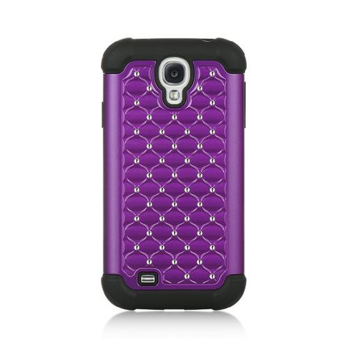 Purple Hard Cover w/ Bling Over Black Silicone for Samsung Galaxy S4