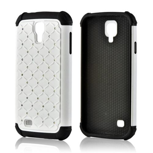 White Hard Cover w/ Bling Over Black Silicone for Samsung Galaxy S4