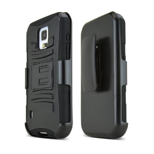 Black Samsung Galaxy S5 Active Hard Case w/ Kickstand on Black Silicone Skin Case w/ Holster - Great Protection!