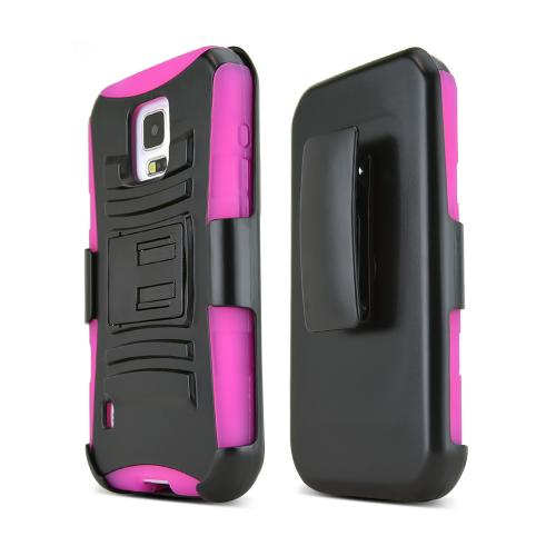 Black Samsung Galaxy S5 Active Hard Case w/ Kickstand on Hot Pink Silicone Skin Case w/ Holster - Great Protection!