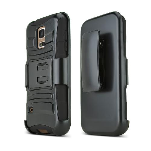 Black Samsung Galaxy S5 Mini Phone Hard Case w/ Kickstand on Black Silicone Skin Case w/ Holster