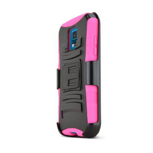 Black Samsung Galaxy S5 Sport Dual Layer Hard Case w/ Kickstand on Hot Pink Silicone Skin Case w/ Holster - Fantastic Protection!