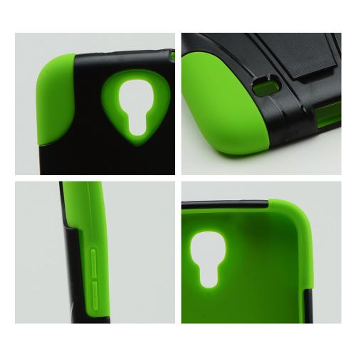 Black Hard Case w/ Kickstand on Neon Green Silicone Skin Case for Samsung Galaxy Mega 6.3