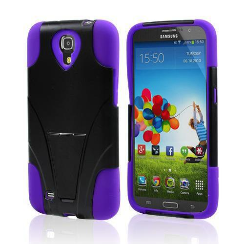 Black Hard Case w/ Kickstand on Purple Silicone Skin Case for Samsung Galaxy Mega 6.3