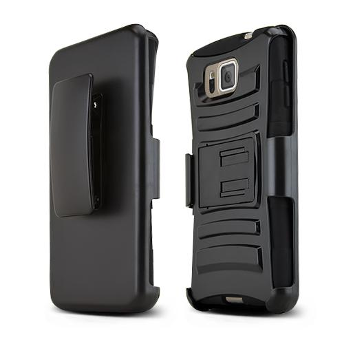 Black Samsung Galaxy Alpha Dual Layer Hard Case w/ Kickstand on Black Silicone Skin Case w/ Holster - Great Protection!