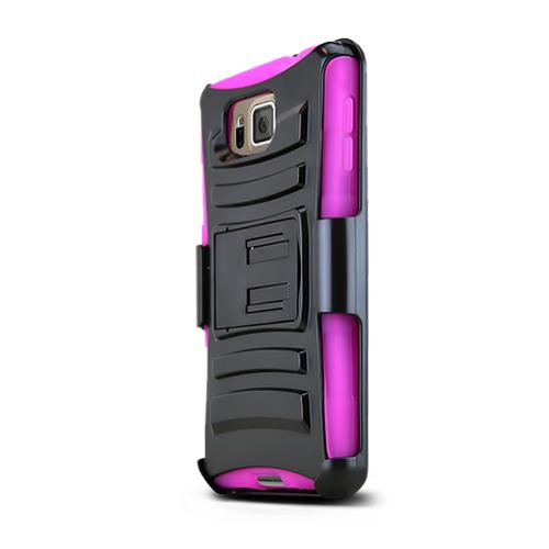 Black Samsung Galaxy Alpha Dual Layer Hard Case w/ Kickstand on Hot Pink Silicone Skin Case w/ Holster - Great Protection!