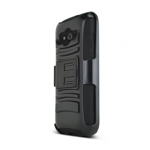 Black Samsung Galaxy Avant Dual Layer Hard Case w/ Kickstand on Black Silicone Skin Case w/ Holster - Great Protection!