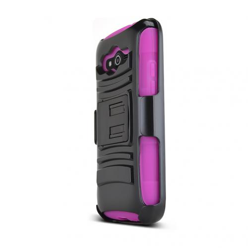 Black Samsung Galaxy Avant Dual Layer Hard Case w/ Kickstand on Hot Pink Silicone Skin Case w/ Holster - Great Protection!