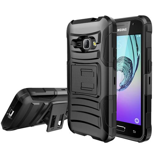Samsung Galaxy J1 Holster Case, [BLACK] Supreme Protection Plastic on Silicone Dual Layer Hybrid Case