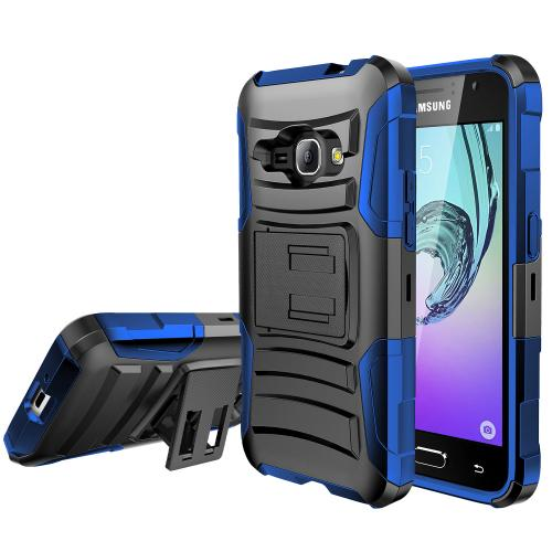 Samsung Galaxy J1 Holster Case, [BLUE] Supreme Protection Plastic on Silicone Dual Layer Hybrid Case