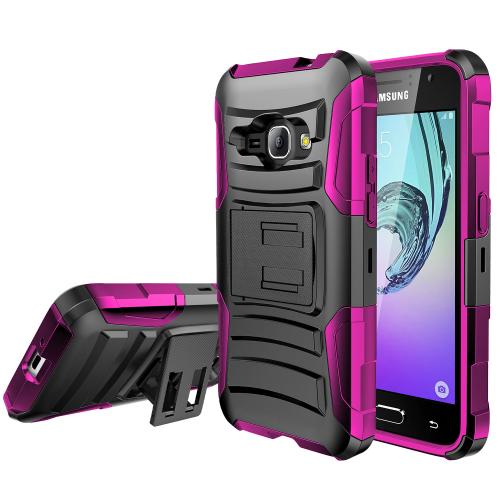 Samsung Galaxy J1 Holster Case, REDshield [HOT PINK] Supreme Protection Plastic on Silicone Dual Layer Hybrid Case