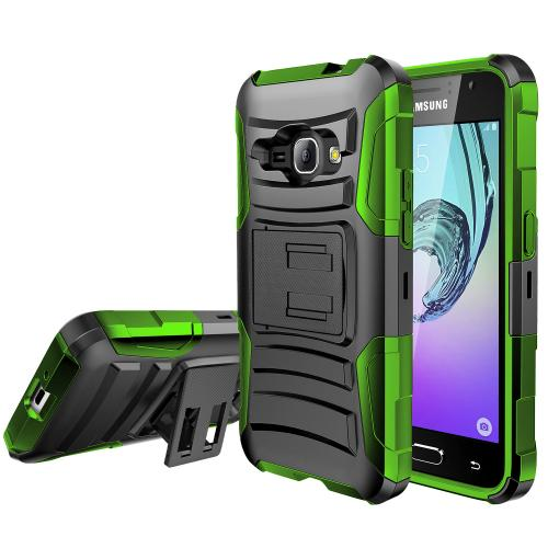 Samsung Galaxy J1 Holster Case, [NEON GREEN] Supreme Protection Plastic on Silicone Dual Layer Hybrid Case