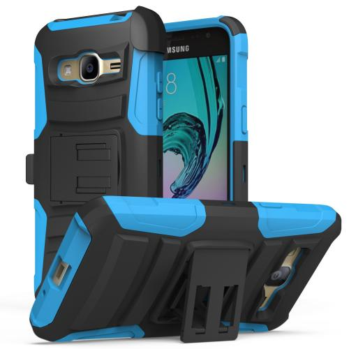 Samsung Galaxy J3 Case, [Blue] Heavy Duty Dual Layer Hybrid Holster Case with Kickstand and Locking Belt Swivel Clip