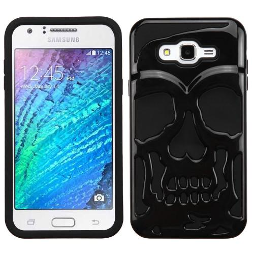 [Samsung Galaxy J7] (2015) Case, Skull Hybrid Dual Layer Hard Case on Silicone Skin [Black]