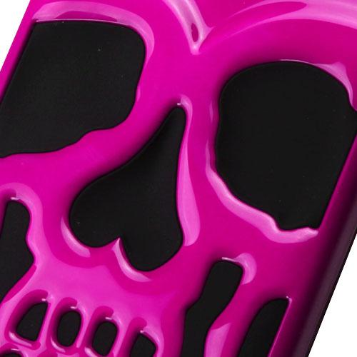 [Samsung Galaxy J7] (2015) Case, Skull Hybrid Dual Layer Hard Case on Silicone Skin [Hot Pink]