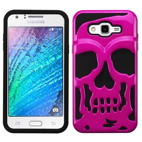 Samsung Galaxy J7 (2015) Case, Skull Hybrid Dual Layer Hard Case on Silicone Skin [Hot Pink]
