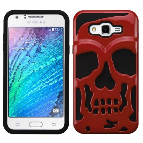 Samsung Galaxy J7 (2015) Case, Skull Hybrid Dual Layer Hard Case on Silicone Skin [Red]