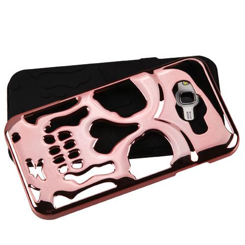 [Samsung Galaxy J7] (2015) Case, Skull Hybrid Dual Layer Hard Case on Silicone Skin [Rose Gold]