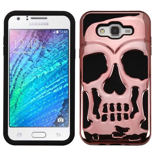 Samsung Galaxy J7 (2015) Case, Skull Hybrid Dual Layer Hard Case on Silicone Skin [Rose Gold]