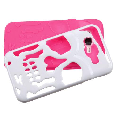 Samsung Galaxy J7 (2015) Case, Skull Hybrid Dual Layer Hard Case on Silicone Skin [Hot Pink on White]