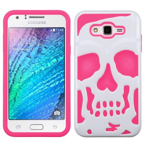 [Samsung Galaxy J7] (2015) Case, Skull Hybrid Dual Layer Hard Case on Silicone Skin [Hot Pink on White]