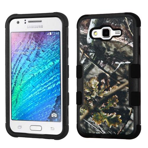 Samsung Galaxy J7 (2015) Case, TUFF Hybrid Dual Layer Hard Case on Silicone Skin [English Oak -Hunting Camouflage]