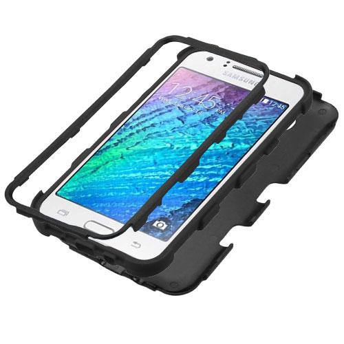 Samsung Galaxy J7 (2015) Case, TUFF Hybrid Dual Layer Hard Case on Silicone Skin [Tree Branches on Black]