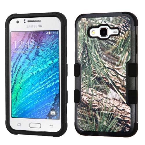 [Samsung Galaxy J7] (2015) Case, TUFF Hybrid Dual Layer Hard Case on Silicone Skin [Tree Branches on Black]