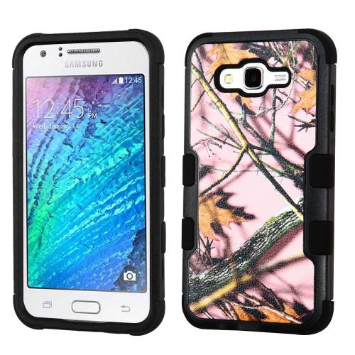 Samsung Galaxy J7 (2015) Case, TUFF Hybrid Dual Layer Hard Case on Silicone Skin [Pink Oak-Hunting Camouflage]