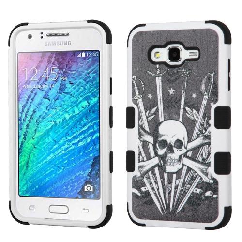 Samsung Galaxy J7 (2015) Case, TUFF Hybrid Dual Layer Hard Case on Silicone Skin [Skulls & Swords]