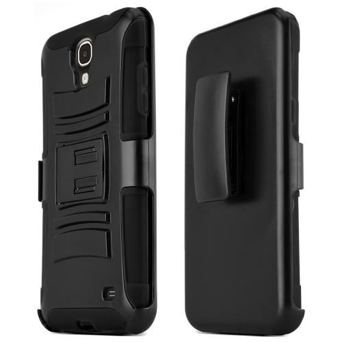 Samsung Galaxy Mega 2 Hybrid Case [black] Heavy Duty Protective Dual Layer Rugged Bumper Hybrid Case W/ Holster And Kickstand