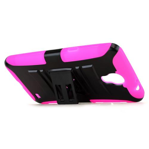 Samsung Galaxy Mega 2 Hybrid Case [hot Pink / Black] Heavy Duty Protective Dual Layer Rugged Bumper Hybrid Case W/ Holster And Kickstand