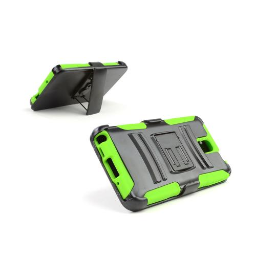 Black Hard Case w/ Kickstand on Neon Green Silicone Skin Case w/ Holster for Samsung Galaxy Note 3