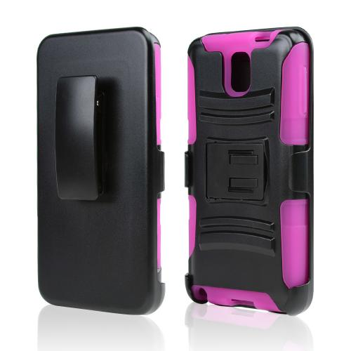 Black Hard Case w/ Kickstand on Hot Pink Silicone Skin Case w/ Holster for Samsung Galaxy Note 3