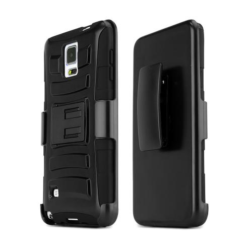 Samsung Galaxy Note 4 Case, [Black]  Heavy Duty Protective Dual Layer Rugged Bumper Hybrid Case