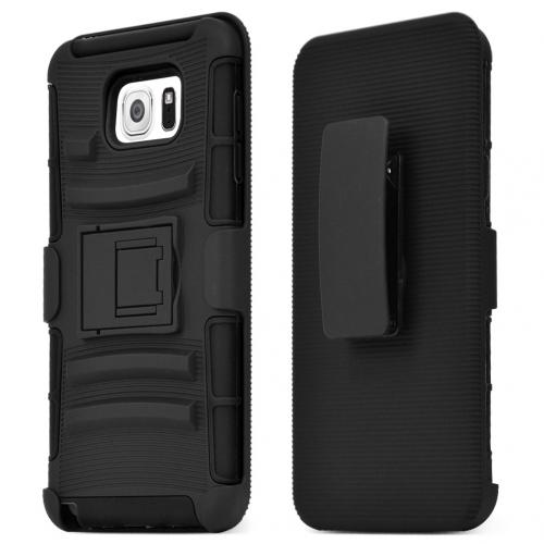Samsung Galaxy Note 5 Holster Case, [Black] Supreme Protection Plastic on Silicone Dual Layer Hybrid Case