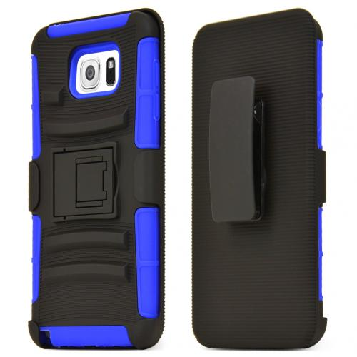 Samsung Galaxy Note 5 Holster Case, [Blue] Supreme Protection Plastic on Silicone Dual Layer Hybrid Case