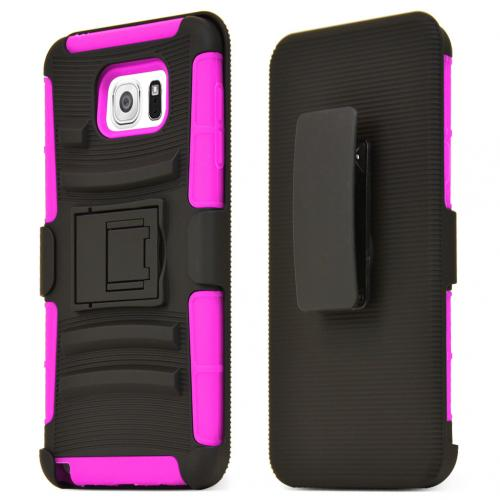 Samsung Galaxy Note 5 Holster Case, [Hot Pink] Supreme Protection Plastic on Silicone Dual Layer Hybrid Case