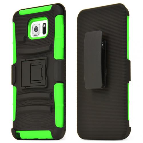 Samsung Galaxy Note 5 Holster Case, [Neon Green] Supreme Protection Plastic on Silicone Dual Layer Hybrid Case
