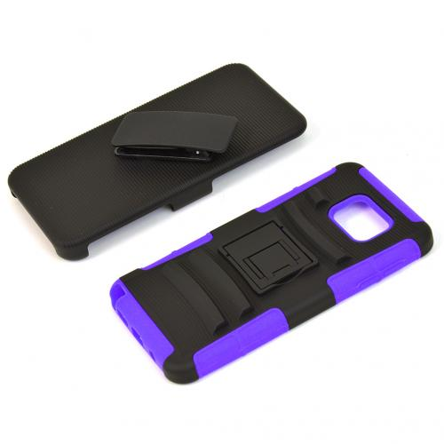 Samsung Galaxy Note 5, [Purple]  Heavy Duty Dual Layer Hybrid Holster Case with Kickstand and Locking Belt Swivel Clip