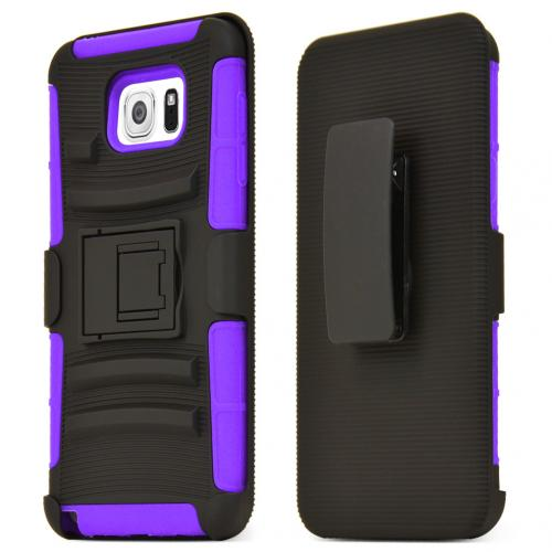 Samsung Galaxy Note 5 Holster Case, [Purple] Supreme Protection Plastic on Silicone Dual Layer Hybrid Case