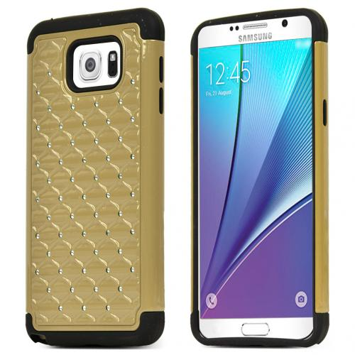 Samsung Galaxy Note 5 Case, [Gold/ Black Bling] Supreme Protection Bling Plastic on Silicone Dual Layer Hybrid Case