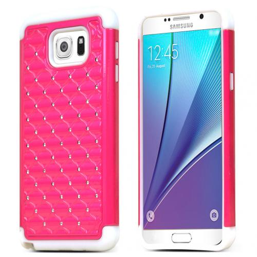 Samsung Galaxy Note 5 Case, [Hot Pink/ White Bling] Supreme Protection Bling Plastic on Silicone Dual Layer Hybrid Case